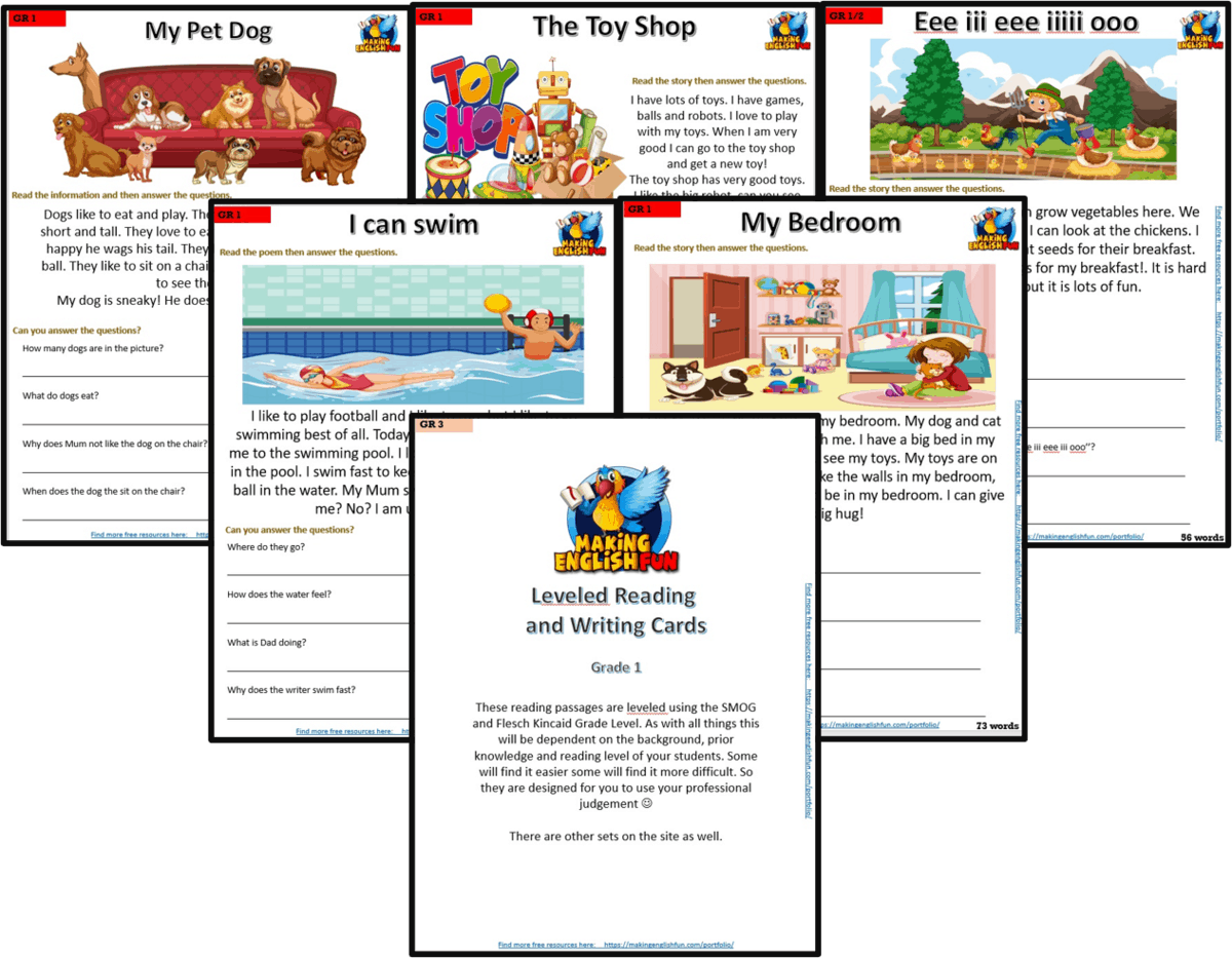 small resolution of GRADE 1 – READING / WRITING COMPREHENSION CARDS FOR KINDI