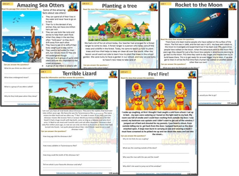 Grade 6+ – Reading / Writing Comprehension Cards for Kindi,  Primary and ESL Students
