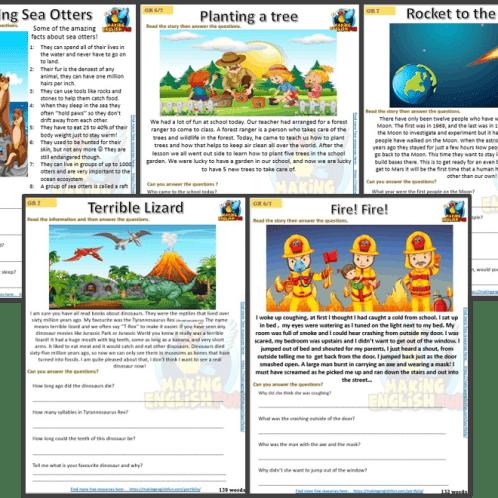 Grade 6 reading cards