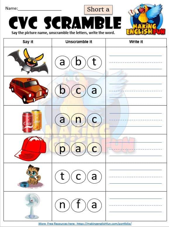 Short a CVC Phonics worksheet