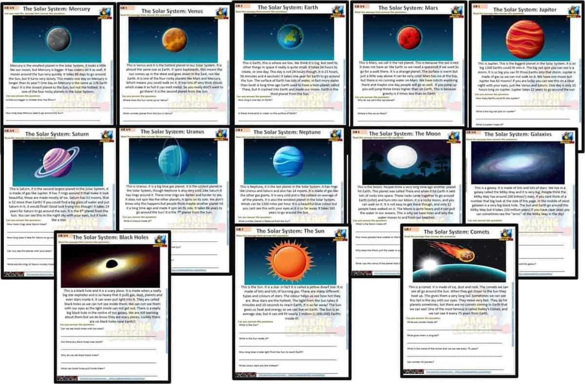 Space and Solar System Reading and Writing Comprehension Cards - Multi Grade  - Editable - Making English Fun [ 900 x 1368 Pixel ]