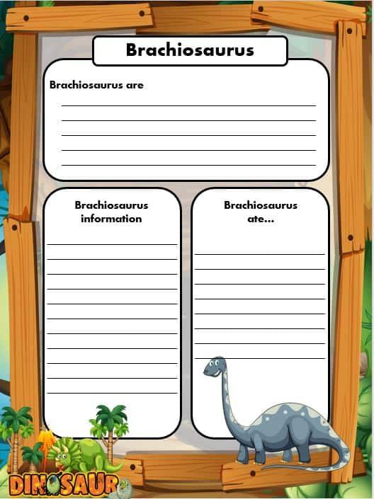 FREE Dinosaur Writing templates brachiosaurus