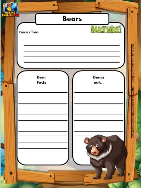 Free Animal Writing Worksheets for ESL bear