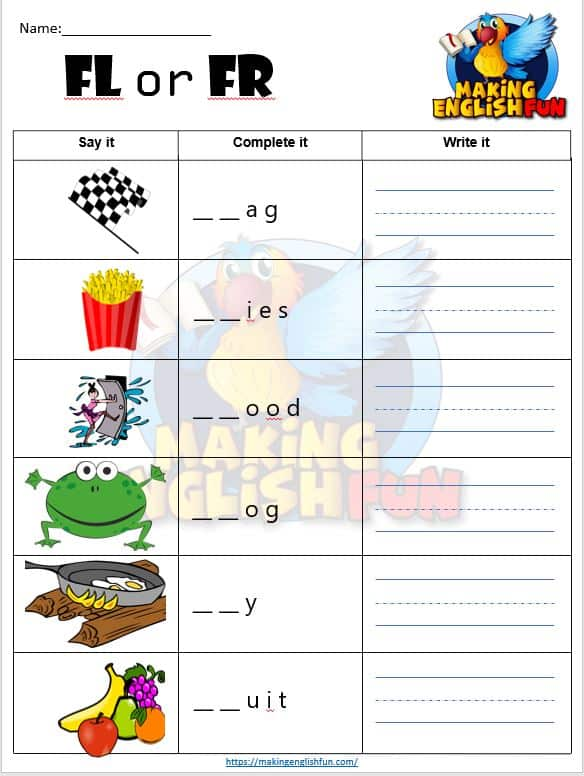 FREE Consonant Blends FL and FR Worksheets