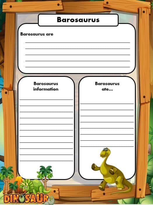FREE Dinosaur Writing templates barosaurus