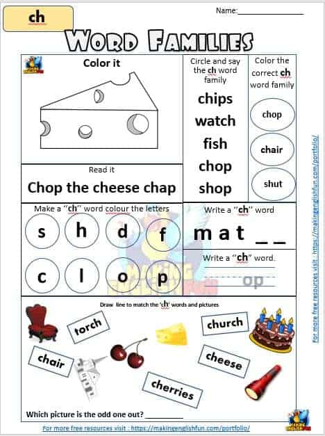 FREE Digraph ch word families Worksheet
