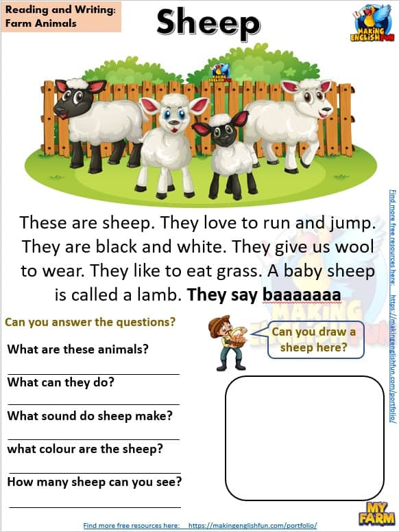 FREE guided Reading Readers and worksheets Farm sheep