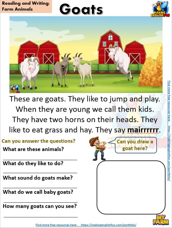 FREE guided Reading Readers and worksheets Farm goats