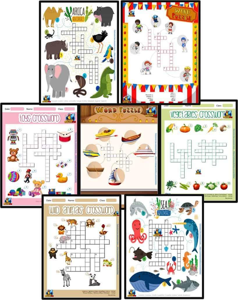 FREE Animal Crosswords Worksheets for ESL