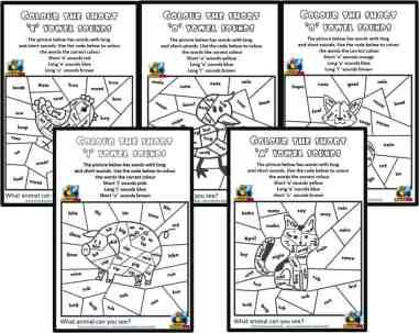 Free Short Vowel Colouring CVC Phonics worksheets