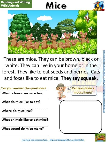 FREE guided reading worksheets and readers mice