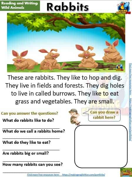 FREE guided reading worksheets and readers rabbits