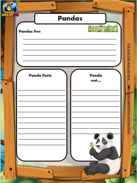 Free Animal Writing Worksheets for ESL panda