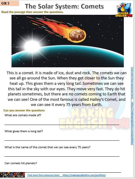 Reading and writing Space worksheets comets