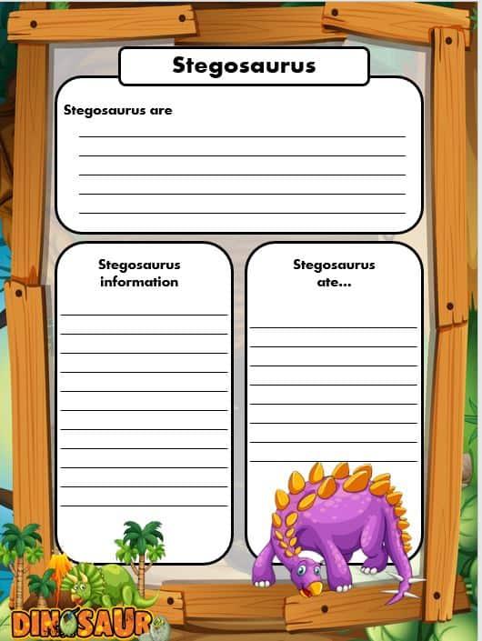 FREE Dinosaur Writing templates Stegosaurus
