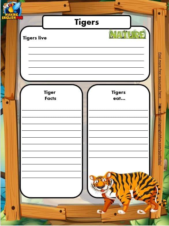 Free Animal Writing Worksheets for ESL tiger