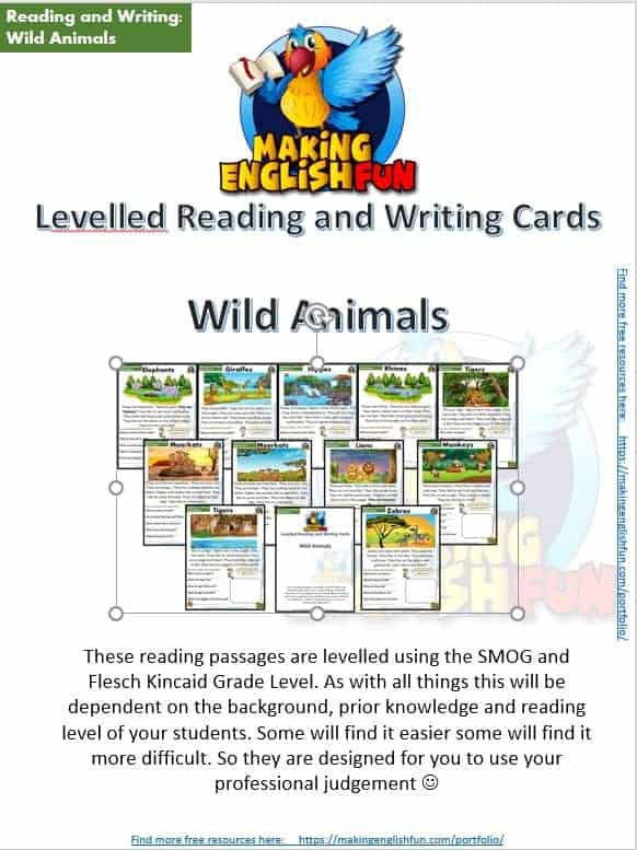 FREE guided Reading Readers and worksheets Animals