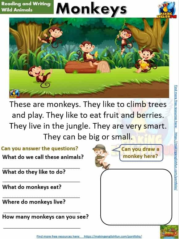FREE guided Reading Readers and worksheets Monkeys