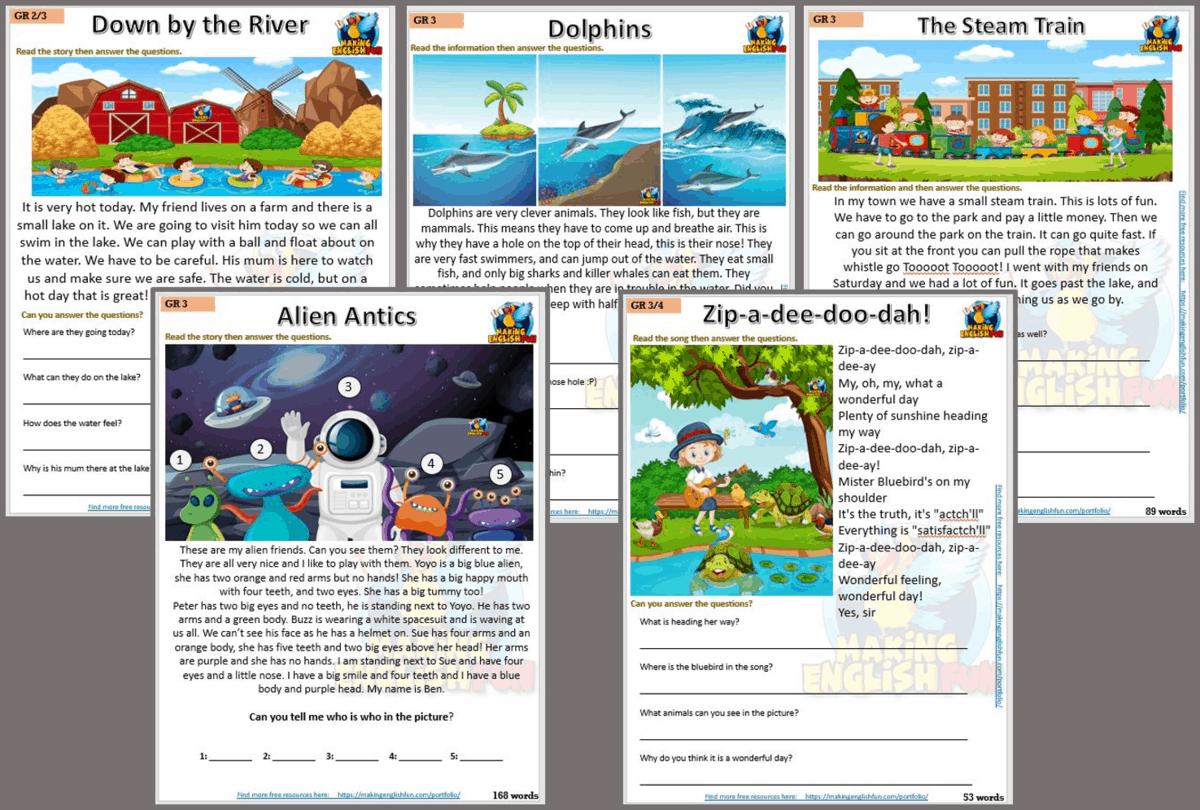 Reading and Writing Comprehension Cards Grade 3 Set 2 - Multi Grade -  Editable - Making English Fun [ 996 x 1475 Pixel ]