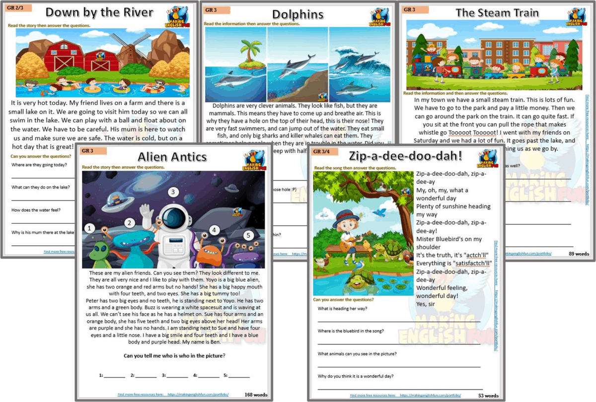 small resolution of Reading and Writing Comprehension Cards Grade 3 Set 2 - Multi Grade -  Editable - Making English Fun