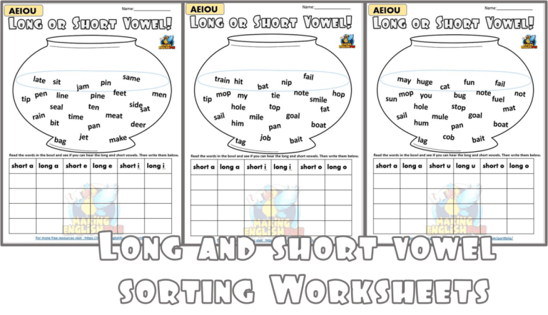 Sort the Vowels – Long and short Worksheets