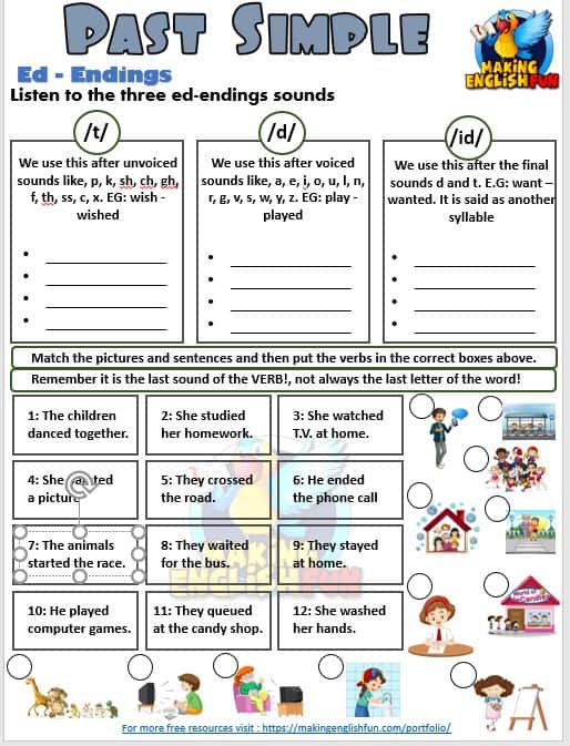 Three Free Past Tense Worksheets