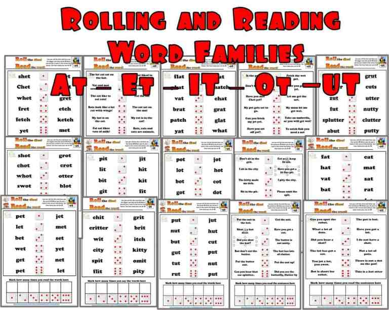 Rolling and Reading phonics Activities – SET One