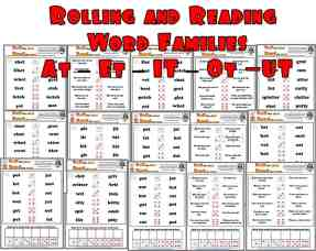 a selection of Roll and read phonics worksheets