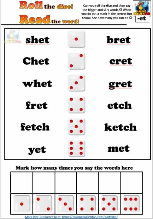 Short vowel E roll and read phonic worksheet