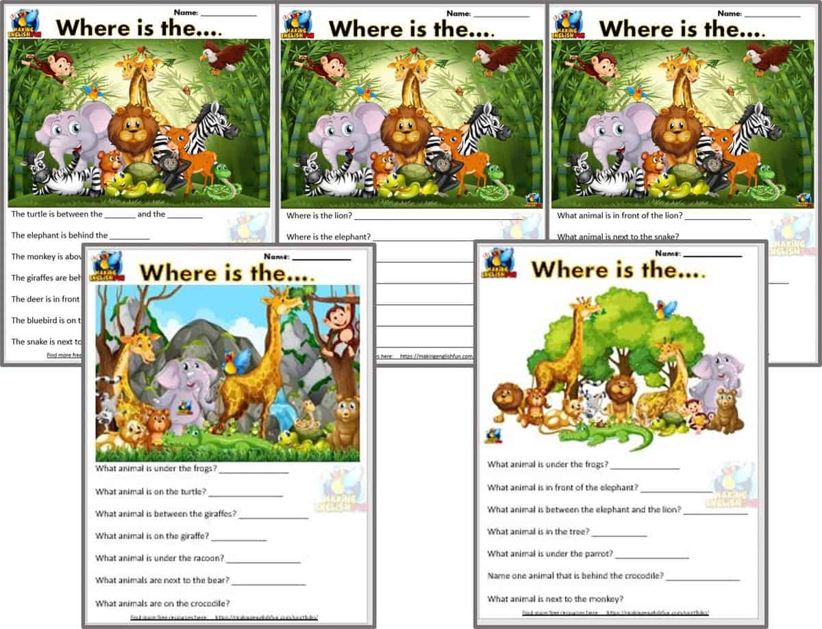 Prepositions of place Worksheets - 5 JUngle versions - Making English Fun [ 975 x 1275 Pixel ]