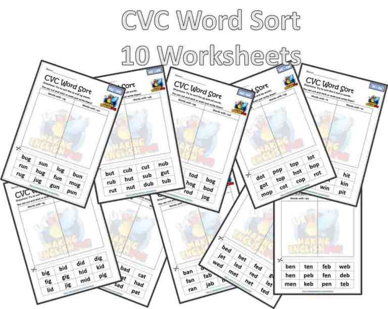 CVC word Sort – 10 free short vowel worksheets