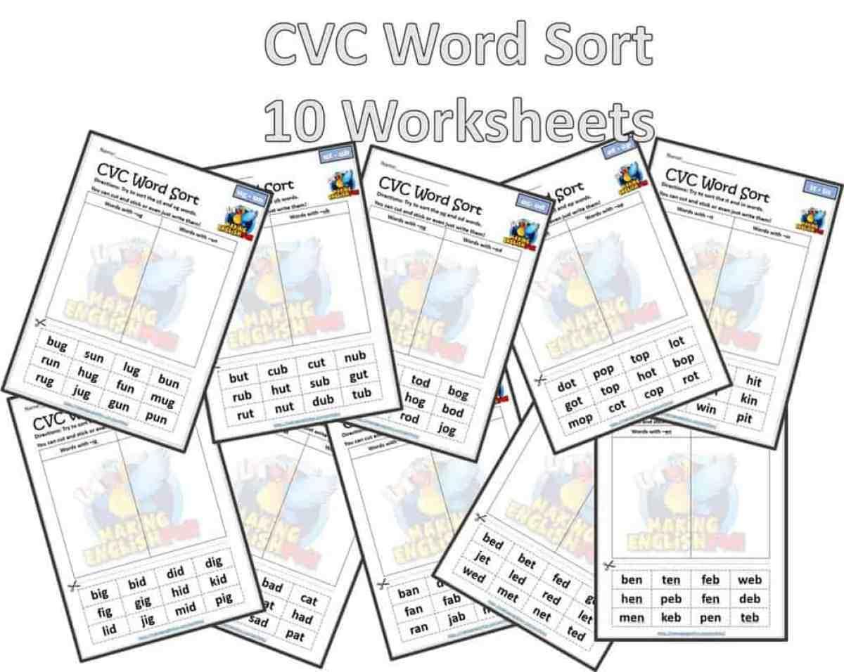 CVC word sort short vowels worksheets