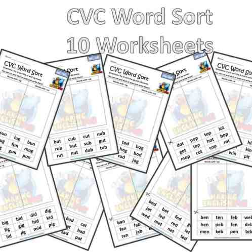 CVC word sort short vowels worksheets