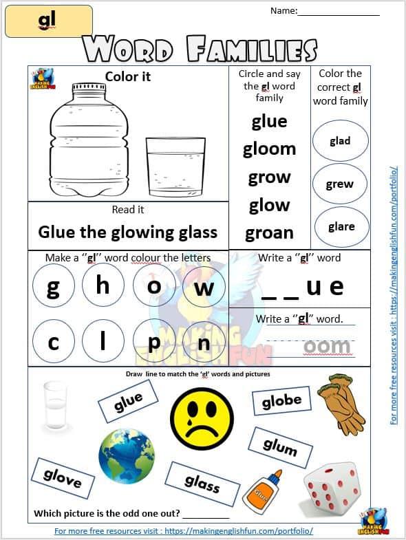 Gl Consonant Blend worksheet