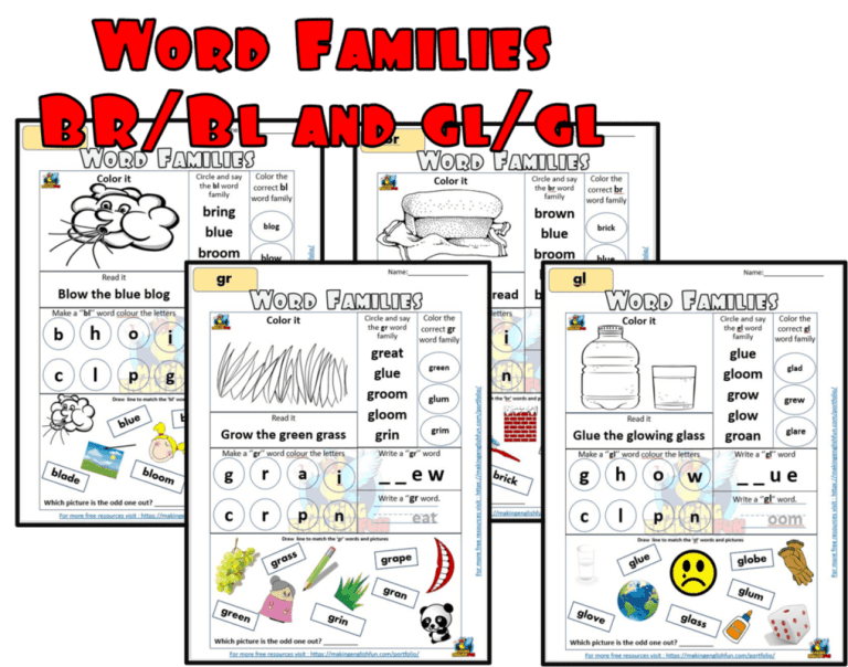Word Family Digraph worksheets -BR / Bl and Gr / Gl