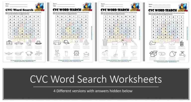 FREE Phonics CVC word Search Worksheets