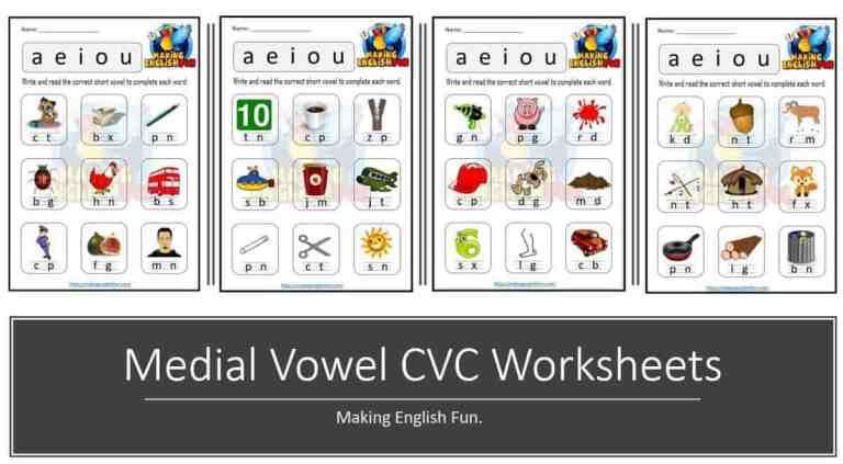 Free Medial Vowel CVC Phonics Worksheets