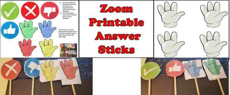 Zoom teaching Resources – hand held yes no and colour hands cards