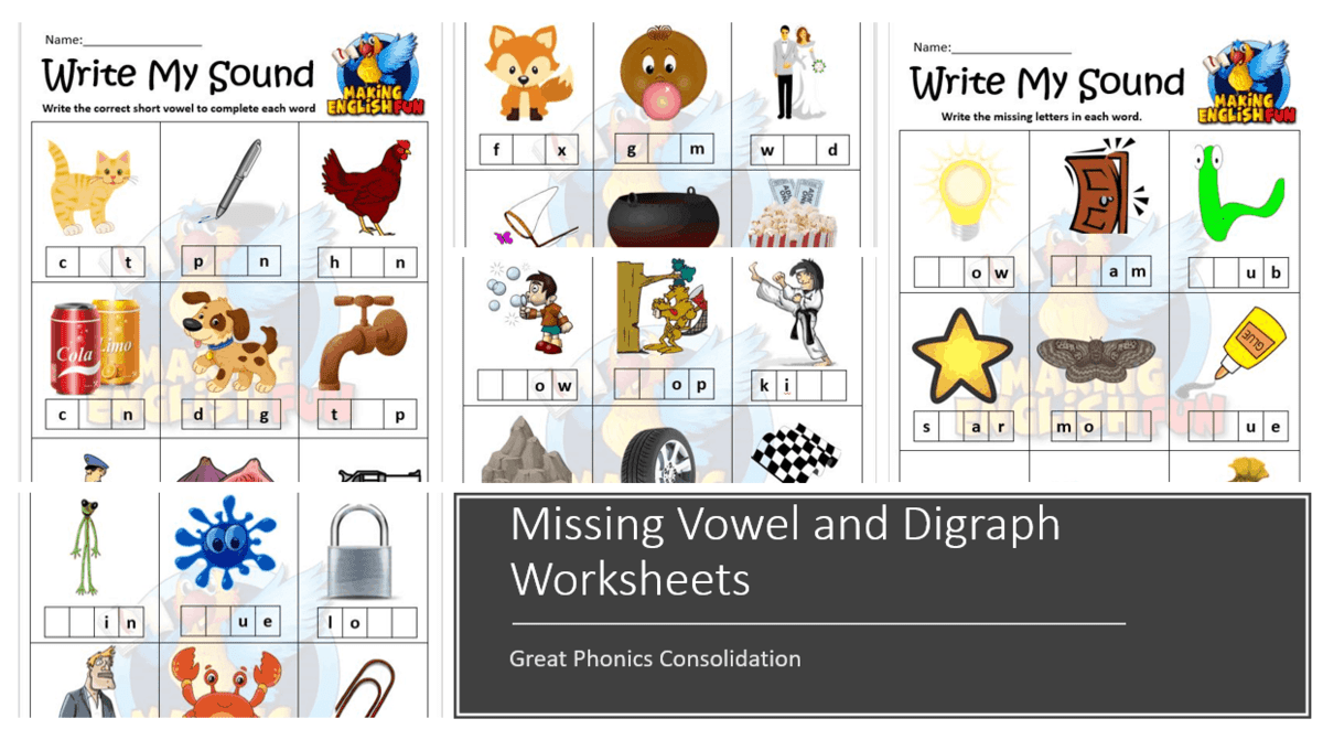 Missing Vowel and Digraph - SOund Worksheets - Making English Fun [ 694 x 1242 Pixel ]