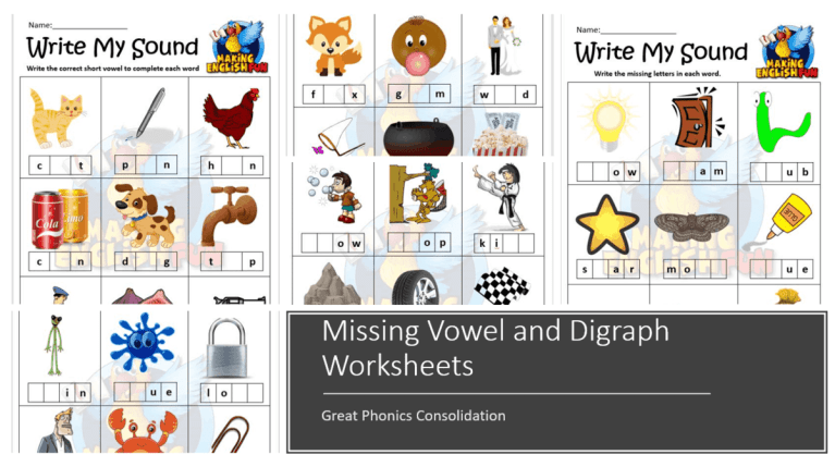 Missing Vowel and Digraph – SOund Worksheets