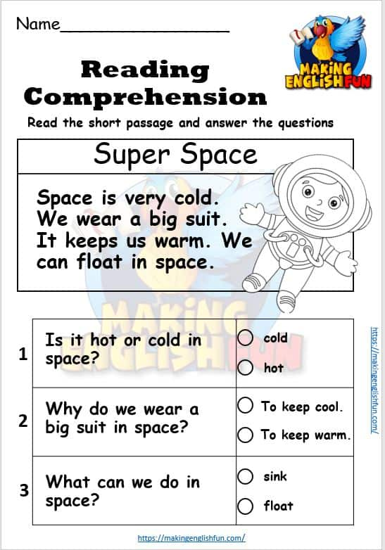 5 Kindergarten Reading Cards And Comprehension With Coloring. - PDF -  Making English Fun