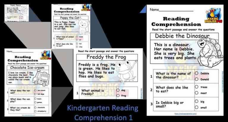 Free Kindergarten Reading Comprehension Colouring Worksheets