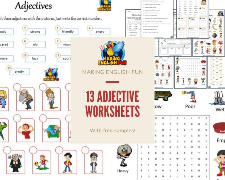 13 Adjective Worksheets