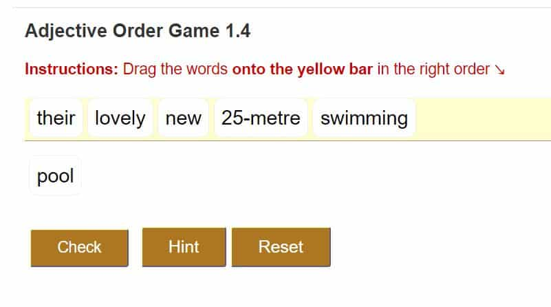 order of adjectives online game