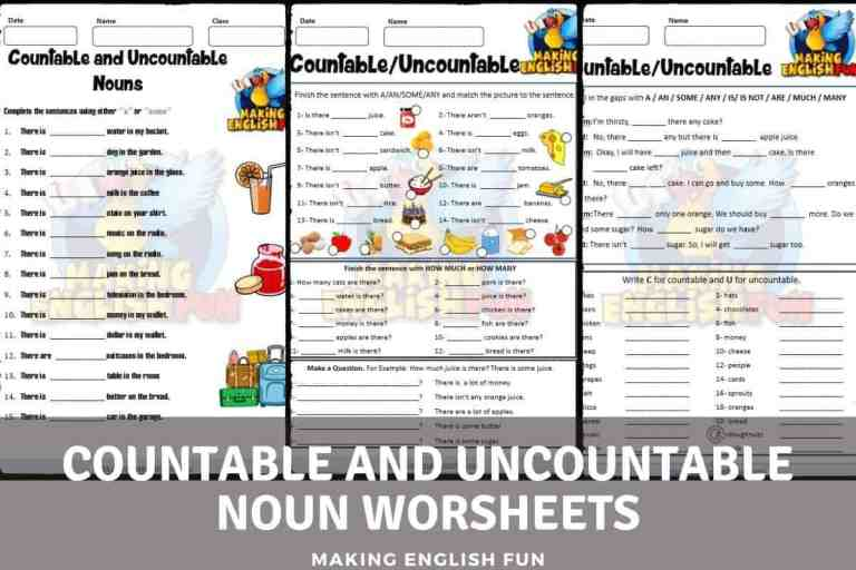 Countable And Uncountable Noun Worksheets