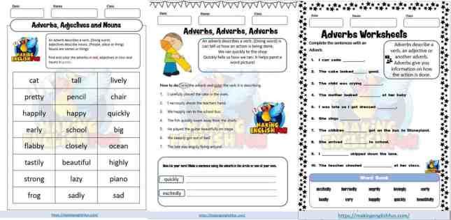 Free Adverbs Worksheets
