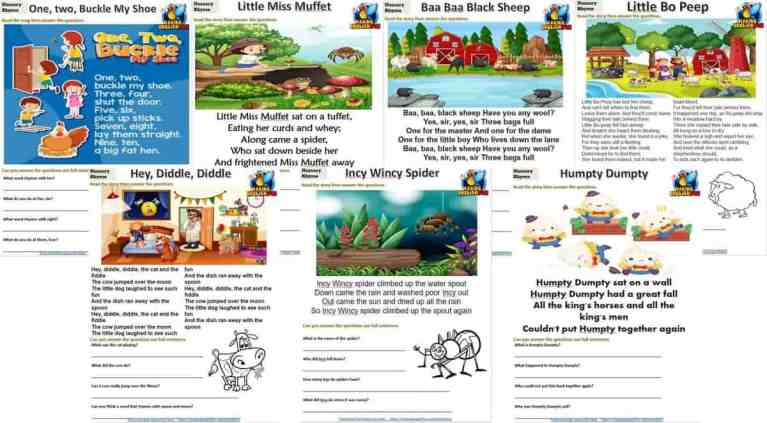 Nursery Rhymes Reading, Coloring And Writing Cards Set 1