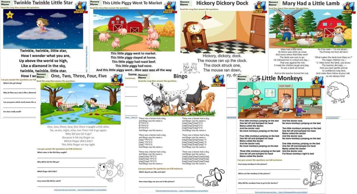 Nursery Rhyme Worksheets Set 2