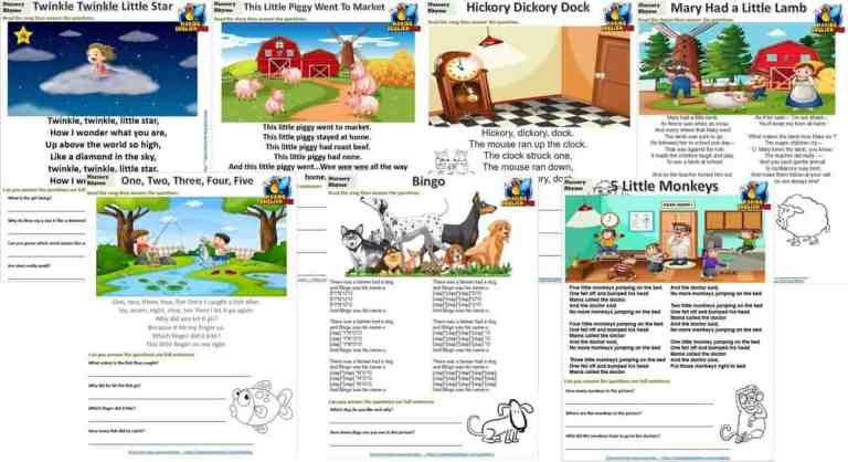 Nursery Rhymes Reading, Coloring And Writing Cards Set 2