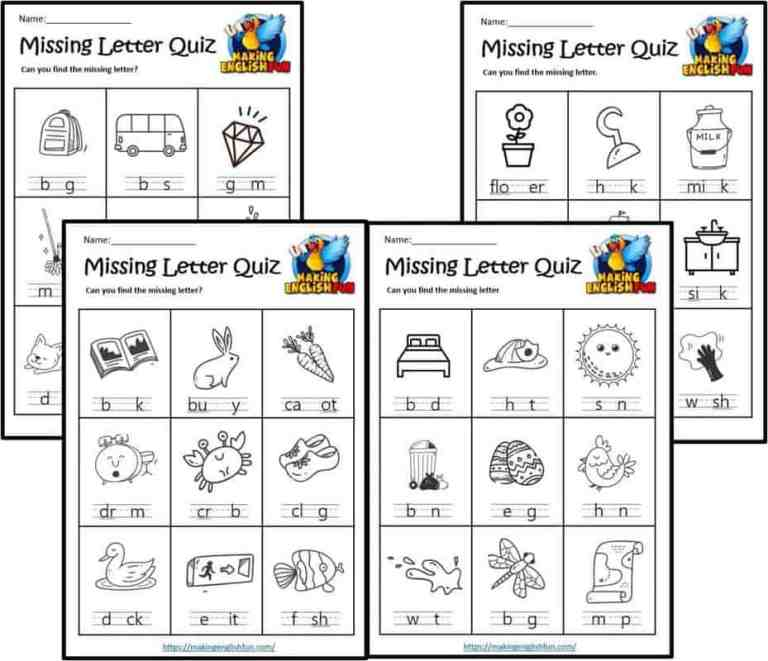 Spelling Worksheets – Missing Letters